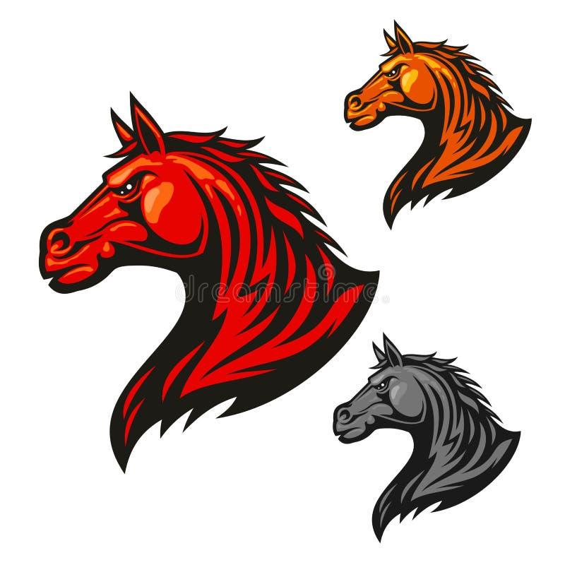 Rasande hästsymboler Stiliserade hingstemblem royaltyfri illustrationer