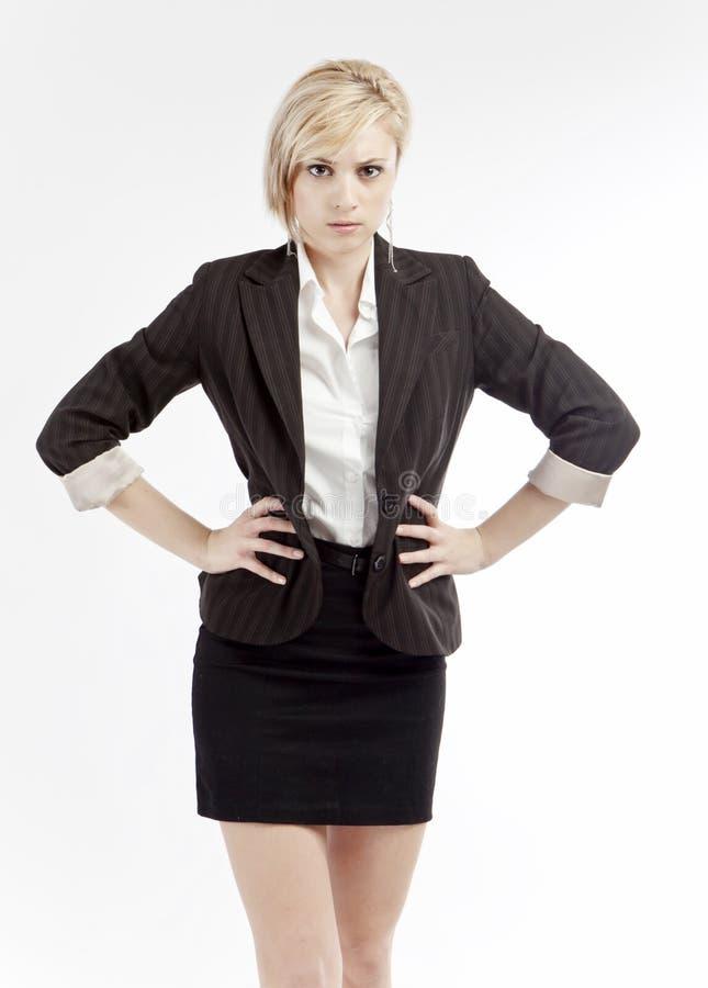 rasande kvinna för affär arkivfoto