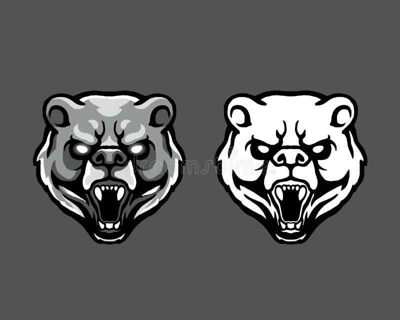 Rasande maskot Logo Badge för tecknad film för huvud för Kodiakbjörn vektor illustrationer