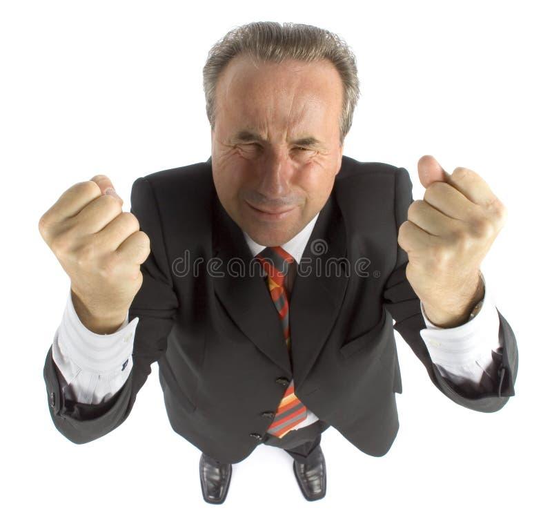rasande pensionär för affärsman royaltyfri bild