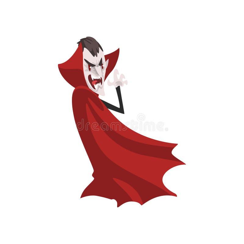 Rasande tecken för räkningsDracula vampyr i en röd uddevektorillustration på en vit bakgrund stock illustrationer