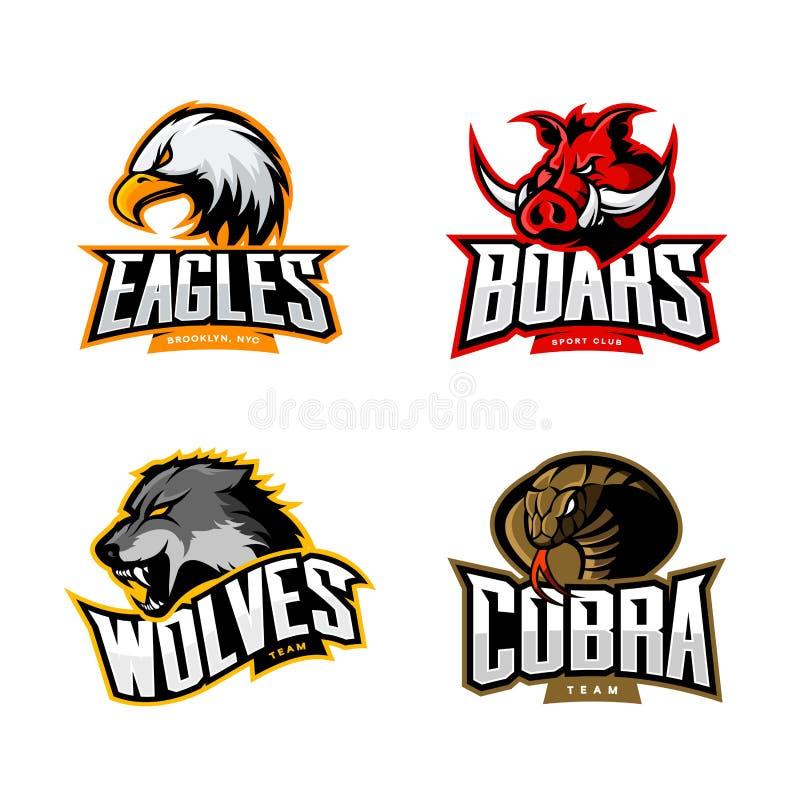 Rasande uppsättning för begrepp för logo för kobra-, varg-, örn- och galtsportvektor som isoleras på vit bakgrund vektor illustrationer