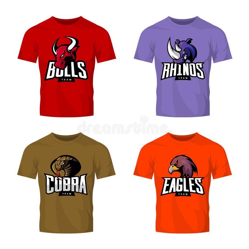 Rasande uppsättning för begrepp för logo för noshörning-, tjur-, örn- och ormsportvektor som isoleras på kulör t-skjorta modell stock illustrationer