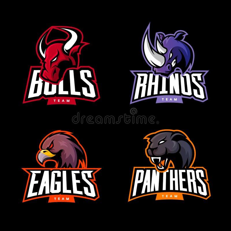 Rasande uppsättning för begrepp för logo för noshörning-, tjur-, örn- och pantersportvektor som isoleras på mörk bakgrund stock illustrationer
