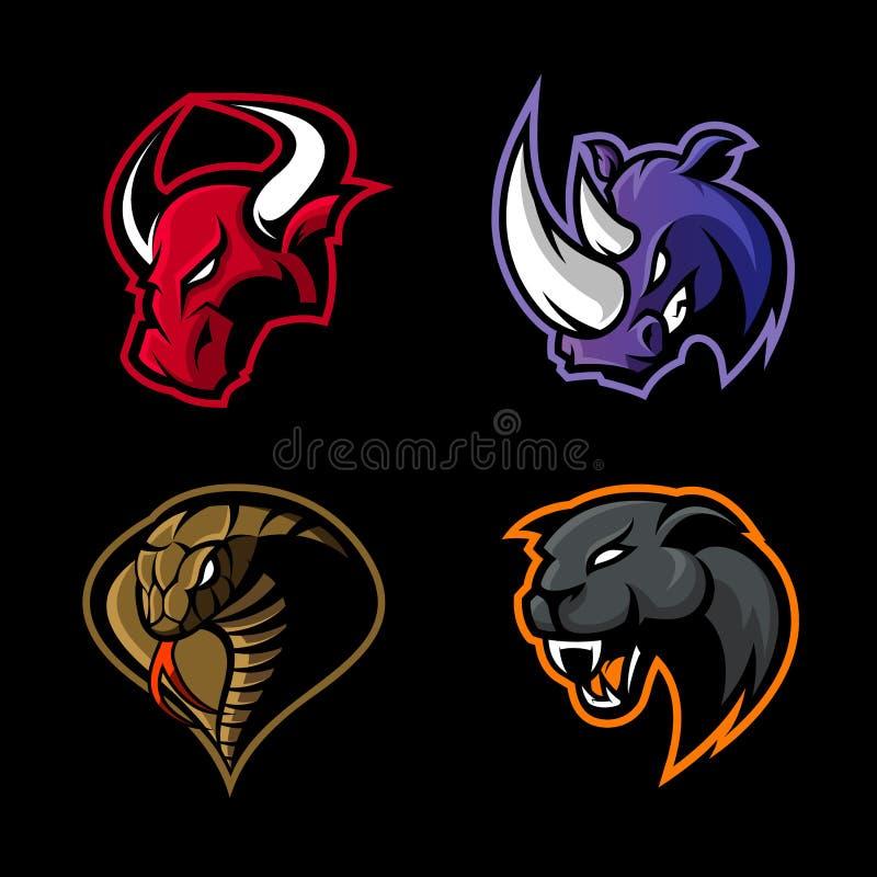Rasande uppsättning för begrepp för logo för noshörning-, tjur-, kobra- och pantersportvektor som isoleras på svart bakgrund vektor illustrationer