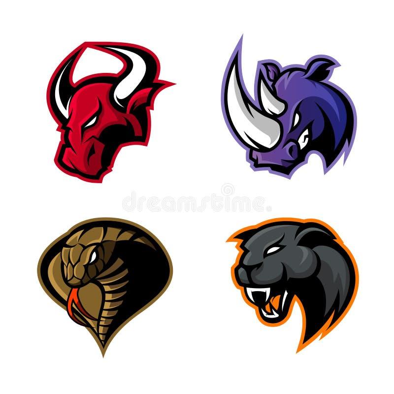 Rasande uppsättning för begrepp för logo för noshörning-, tjur-, kobra- och pantersportvektor som isoleras på vit bakgrund vektor illustrationer