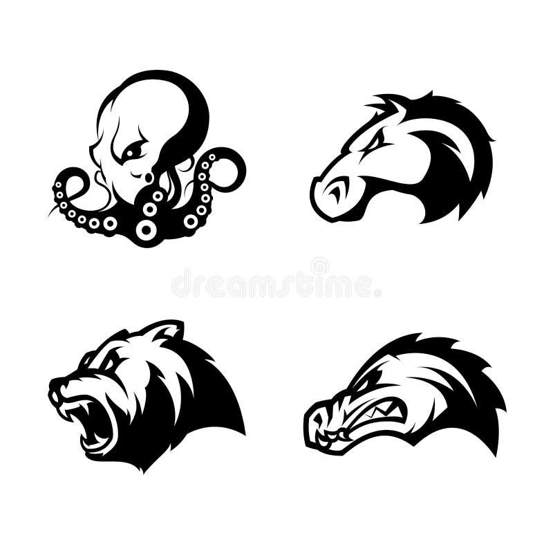 Rasande uppsättning för begrepp för logo för vektor för bläckfisk-, björn-, alligator- och hästhuvudsport som isoleras på vit bak royaltyfri illustrationer