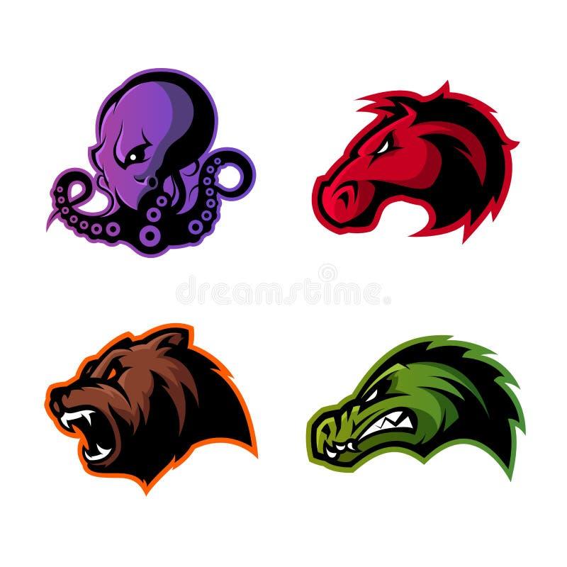 Rasande uppsättning för begrepp för logo för vektor för bläckfisk-, björn-, alligator- och hästhuvudsport som isoleras på vit bak vektor illustrationer