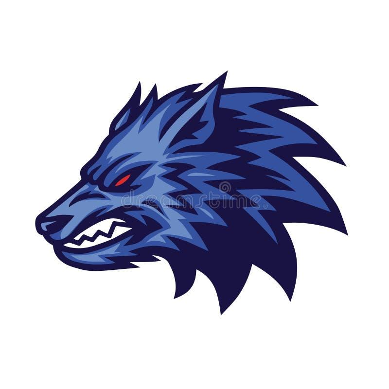 Rasande Wolf Logo Vector Design Concept stock illustrationer