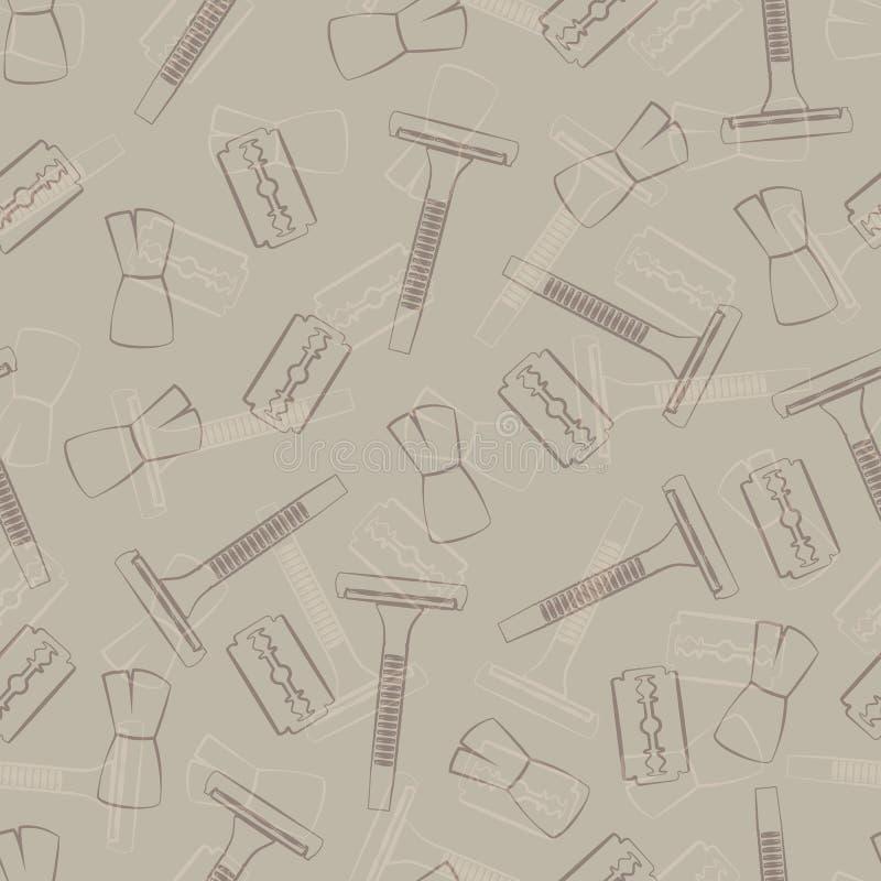 Rasatura degli accessori: macchina, lama e spazzola illustrazione di stock