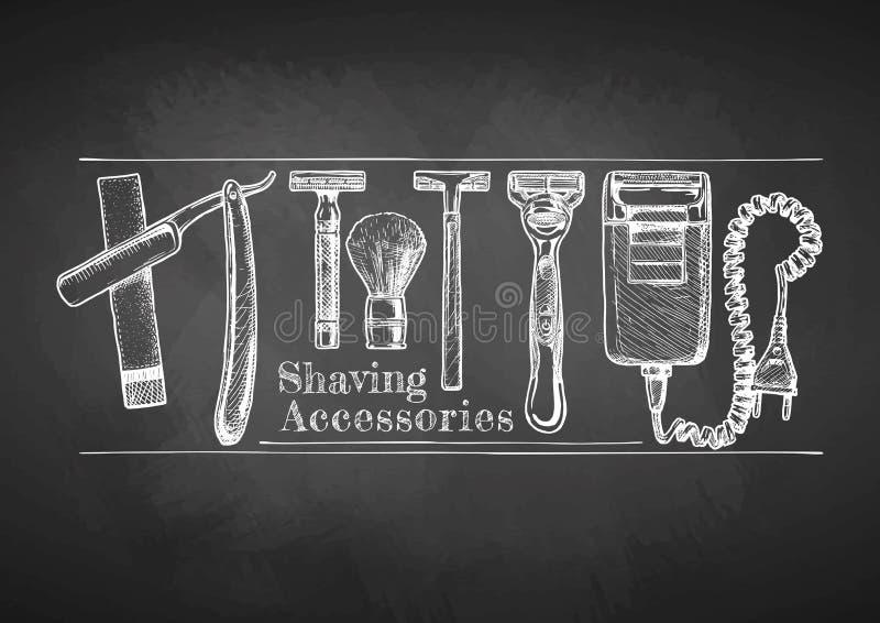 Rasatura degli accessori sulla lavagna illustrazione di stock