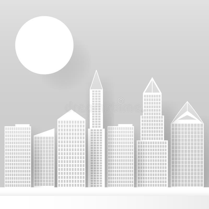 Rascacielos blancos abstractos hechos del papel Horizonte moderno de la ciudad que construye oficinas de papel industriales del r ilustración del vector