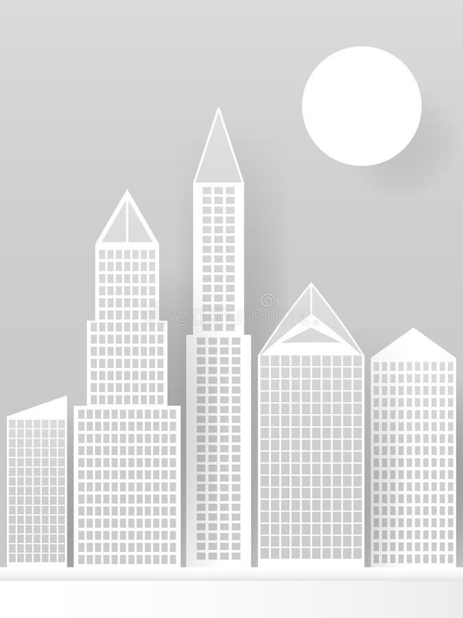 Rascacielos blancos abstractos hechos del papel Horizonte moderno de la ciudad que construye oficinas de papel industriales del r stock de ilustración