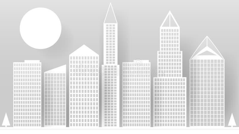 Rascacielos blancos abstractos hechos del papel Horizonte moderno de la ciudad que construye oficinas de papel industriales del r libre illustration
