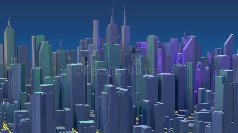 Rascacielos c?ntricos de la ciudad Ciudad con las l?neas camino y elementos digitales del resplandor representaci?n 3d fotografía de archivo