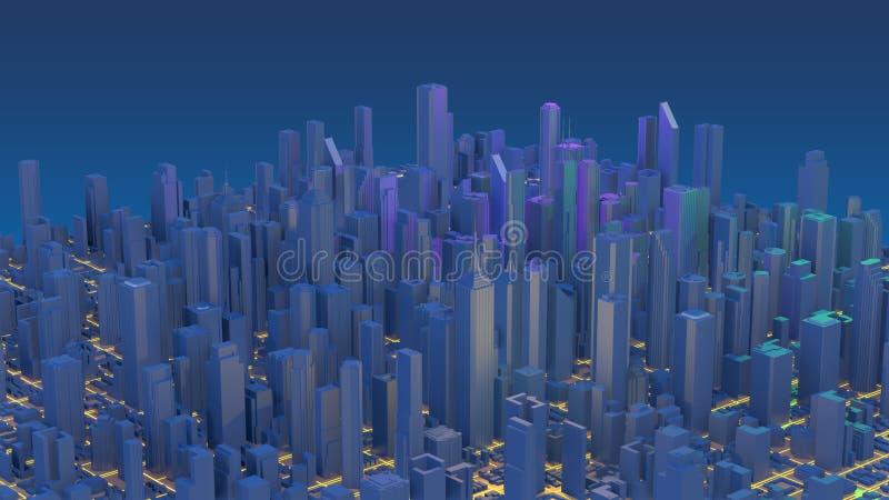 Rascacielos c?ntricos de la ciudad Ciudad con las l?neas camino y elementos digitales del resplandor representaci?n 3d foto de archivo