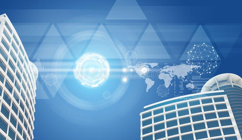 Rascacielos, cielo y triángulos transparentes con ilustración del vector