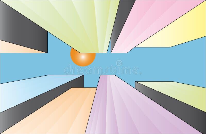 Rascacielos coloridos en ciudad ilustración del vector