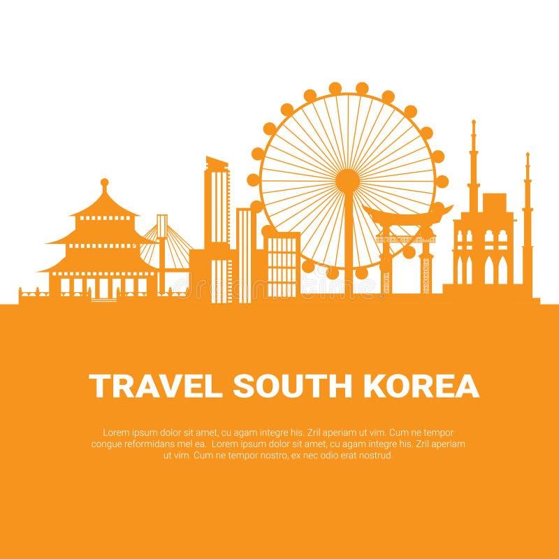 Rascacielos coreanos de la silueta de la ciudad de Seul y señales famosas en el fondo blanco con viaje espacial de la copia a la  libre illustration