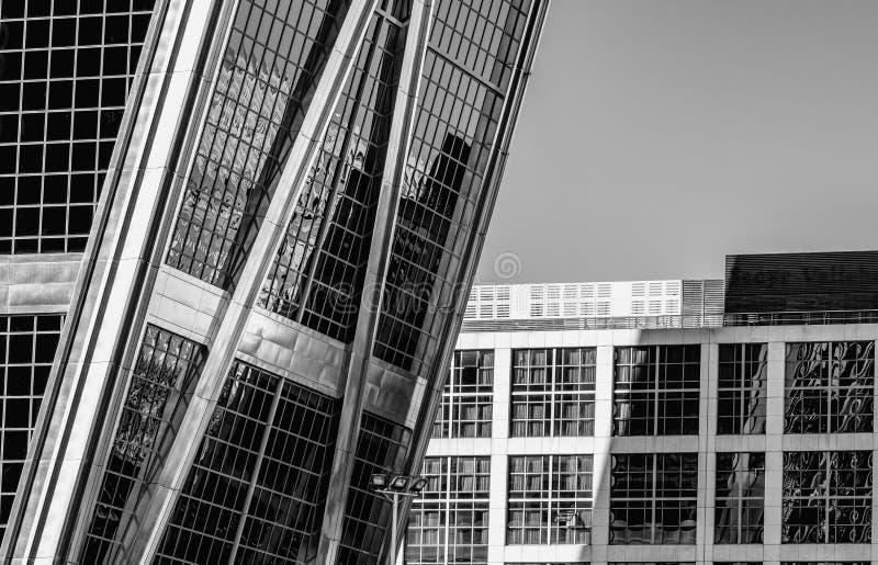 Rascacielos de B&W en Madrid, kio de los torres fotos de archivo
