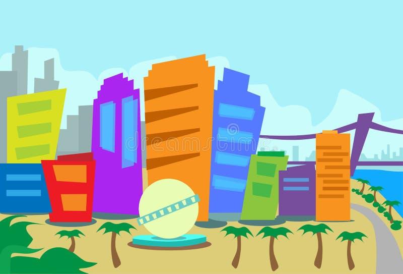 Rascacielos de la ciudad del horizonte del extracto de Los Ángeles stock de ilustración