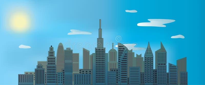 Rascacielos de la ciudad en el día con el sol y las nubes en cielo azul fotos de archivo libres de regalías
