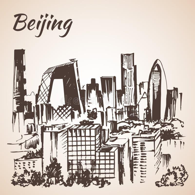 Rascacielos de Pekín bosquejo ilustración del vector