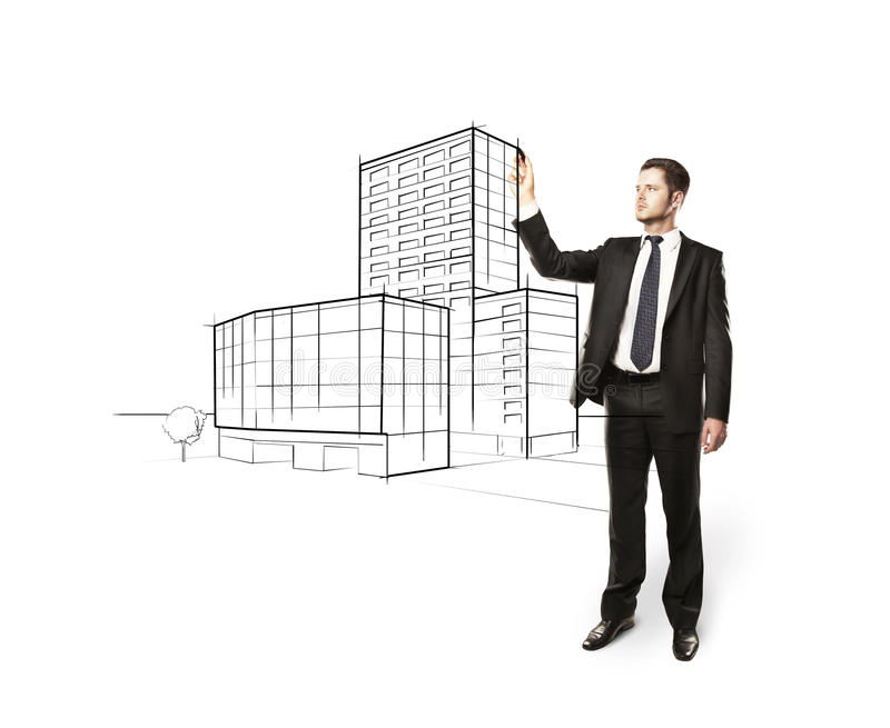 Rascacielos del gráfico del hombre imagen de archivo libre de regalías