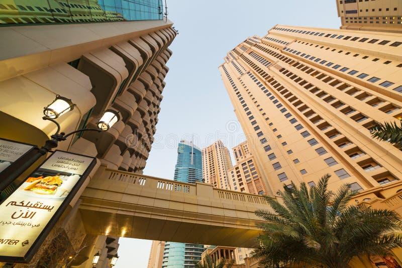 Rascacielos del puerto deportivo de Dubai foto de archivo