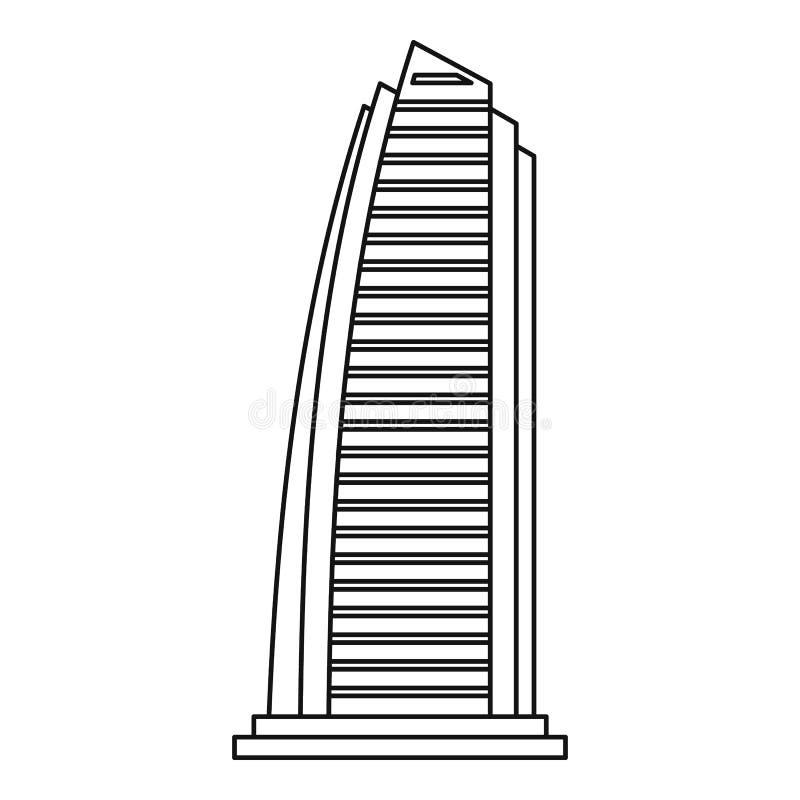 Rascacielos en el icono de Dubai, estilo del esquema ilustración del vector