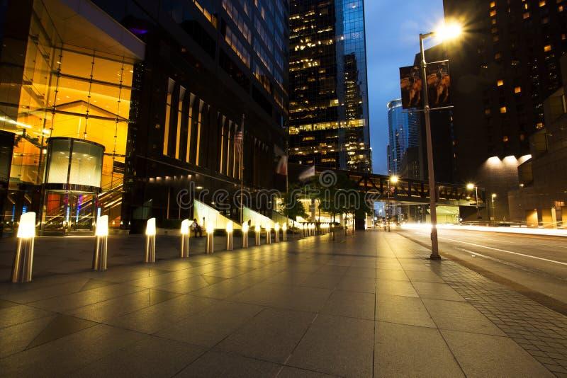 Rascacielos en la oscuridad, Houston Downtown imagen de archivo