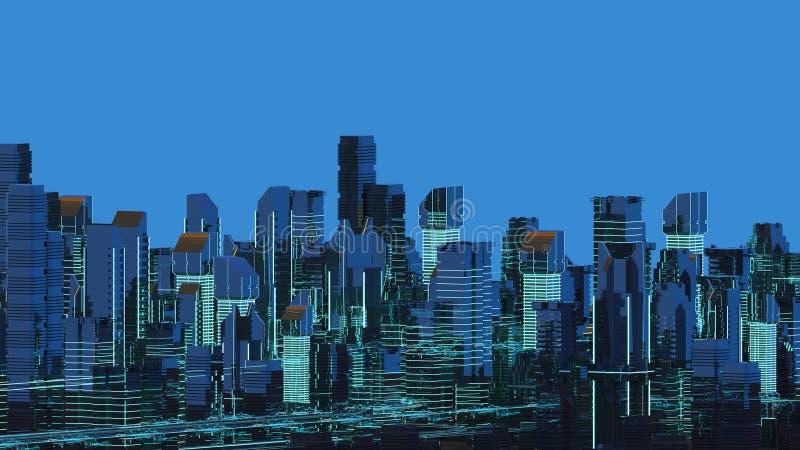 Rascacielos futuristas en el flujo El flujo de datos digitales Ciudad del futuro ilustración 3D representación 3d stock de ilustración