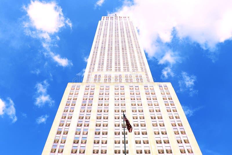 Rascacielos grande en un fondo del cielo azul imagen de archivo