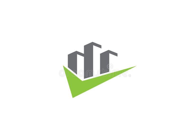 Rascacielos grandes con una marca de verificación para el ejemplo del diseño del logotipo libre illustration
