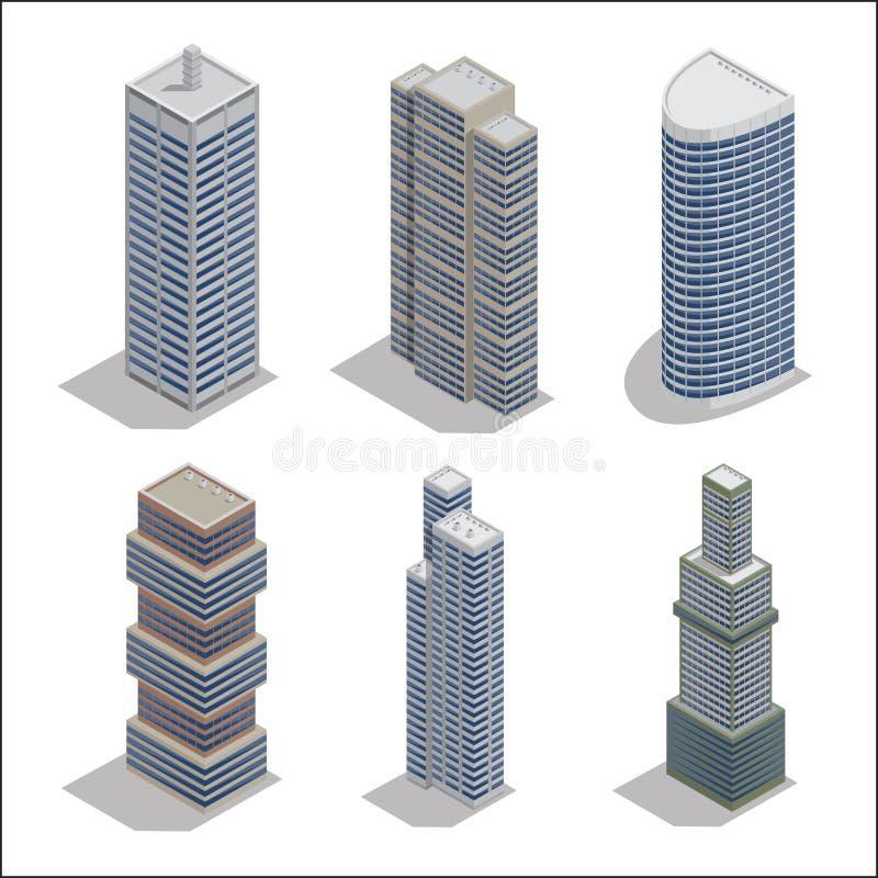 Rascacielos modernos Construcción de edificios isométrica stock de ilustración