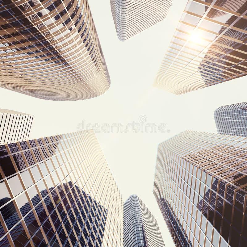 Rascacielos reflexivos de cristal altos de la alta subida moderna en distrito céntrico de la ciudad Construcción y estado del neg ilustración del vector