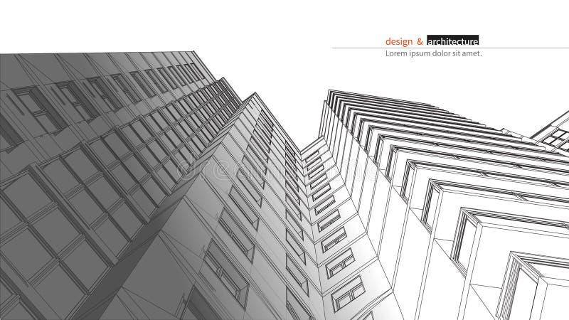 Rascacielos urbanístico 3D abstractos rinden de la estructura del marco del alambre del edificio Idea gráfica de la construcción  stock de ilustración