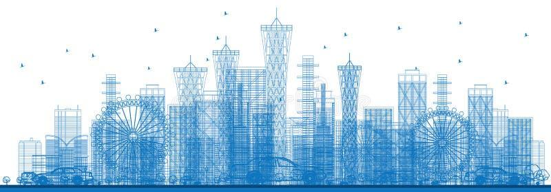 Rascacielos y edificios de la ciudad del esquema en color azul libre illustration