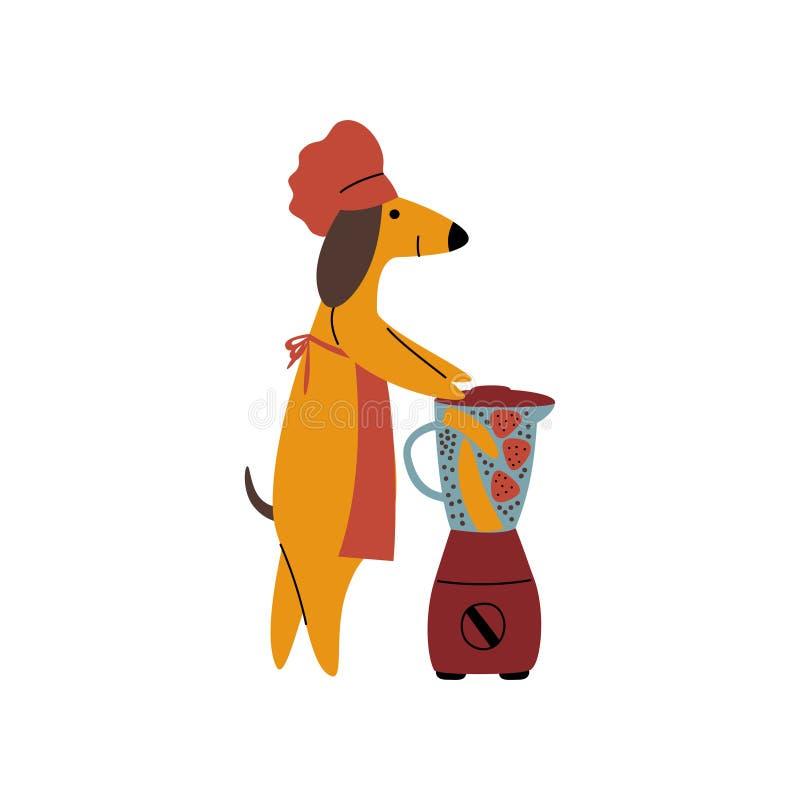 Rasechte Bruine Tekkelhond die Gezonde Smoothie maken Gebruikend Mixer, Grappige Speelse het Karaktervector van het Huisdierbeeld vector illustratie