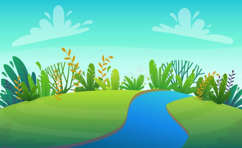 Rasenfluß des grünen Grases an den Park- oder Bäumen des Waldes und am Buschblumenlandschaftshintergrund, Naturrasenökologiefried stock abbildung