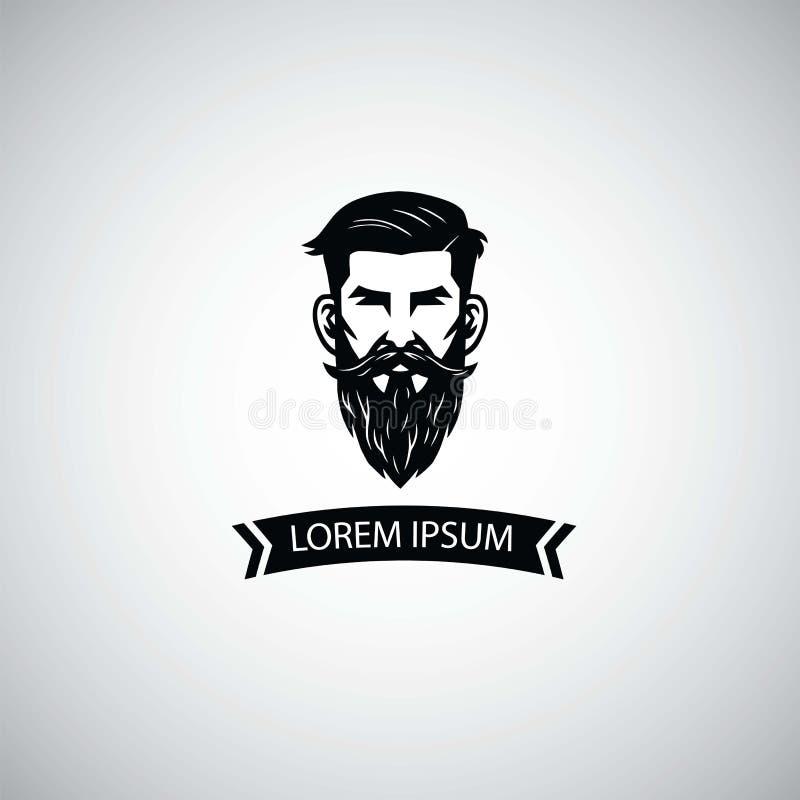 Raseur-coiffeur Logo Template avec l'homme de hippie Illustration de vecteur illustration stock