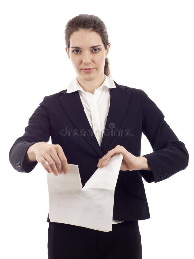 Rasgado encima de contrato imagen de archivo libre de regalías
