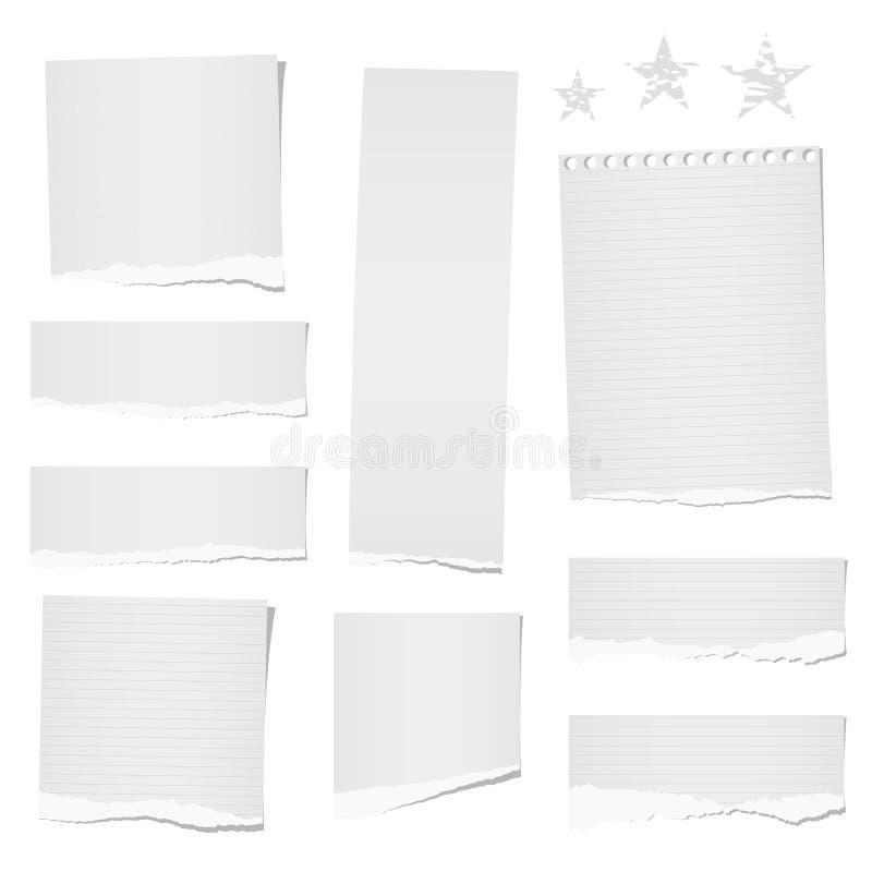 Rasgado la nota gobernada y en blanco, el cuaderno, las tiras de papel, las hojas para el tex o el mensaje se pegaron en el fondo stock de ilustración