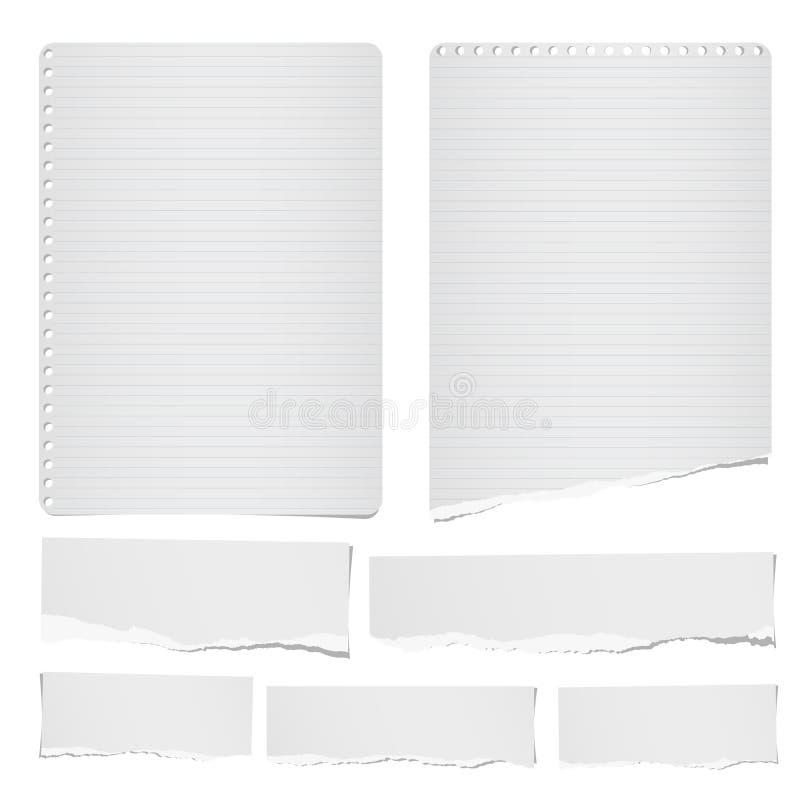 Rasgado la nota gobernada y en blanco, el cuaderno, las tiras de papel, las hojas para el tex o el mensaje se pegaron en el fondo ilustración del vector