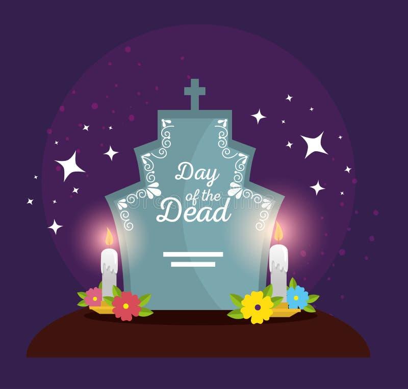 Rasgo com as flores e as velas para comemorar o dia dos mortos ilustração do vetor