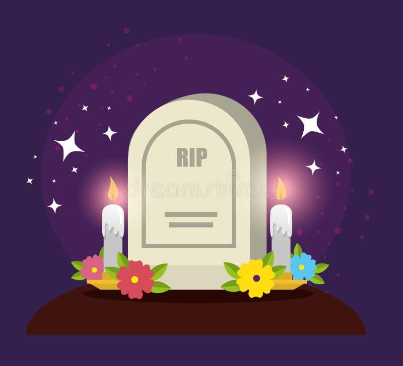 Rasgo com velas e flores ao dia dos mortos ilustração stock