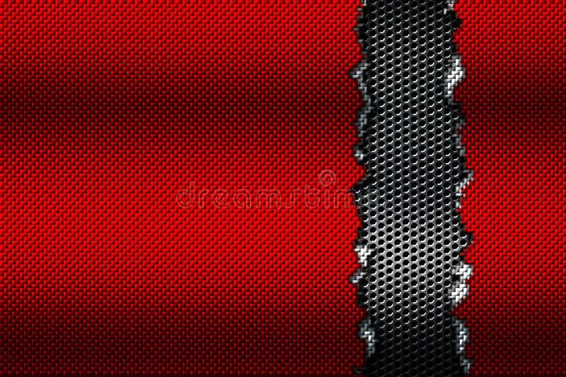 Rasgo vermelho e branco da fibra do carbono na malha metálica preta ilustração royalty free