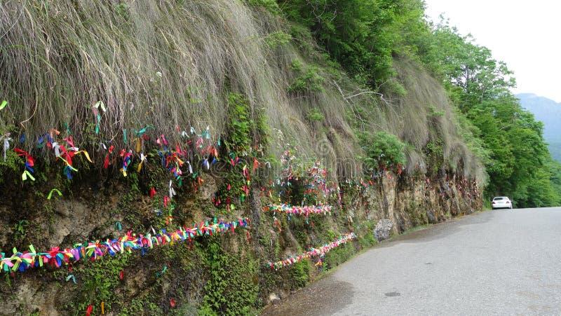 Rasgones de la doncella de la cascada en Abjasia imágenes de archivo libres de regalías