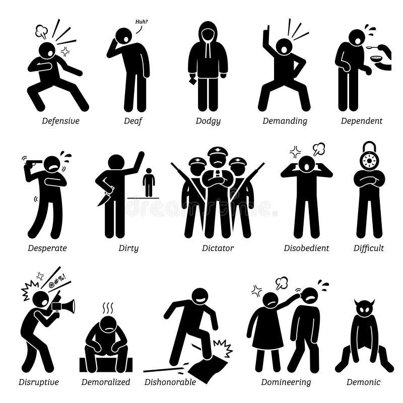 Rasgos de carácter negativos de las personalidades Clipart ilustración del vector
