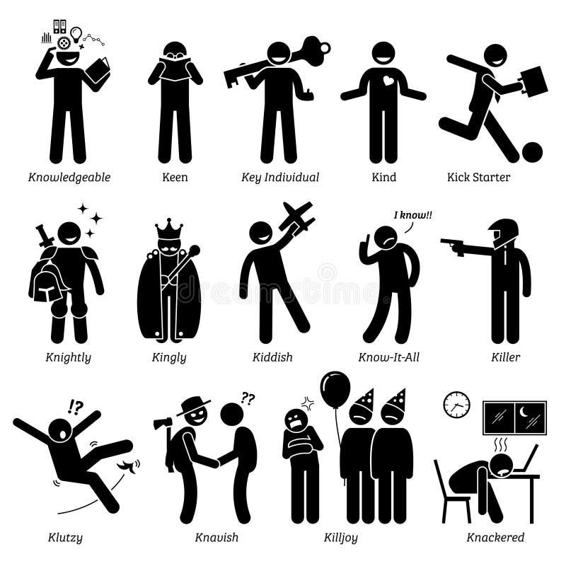 Rasgos de carácter neutrales negativos positivos de las personalidades Clipart ilustración del vector